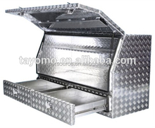 Aluminum Toolbox with Drawer (Checker Plate)