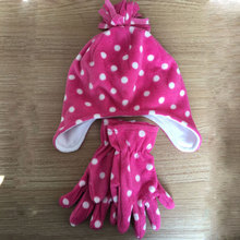 Lovely Warm Polar Fleece Jacquard Kids Winter Hats And Gloves For Baby