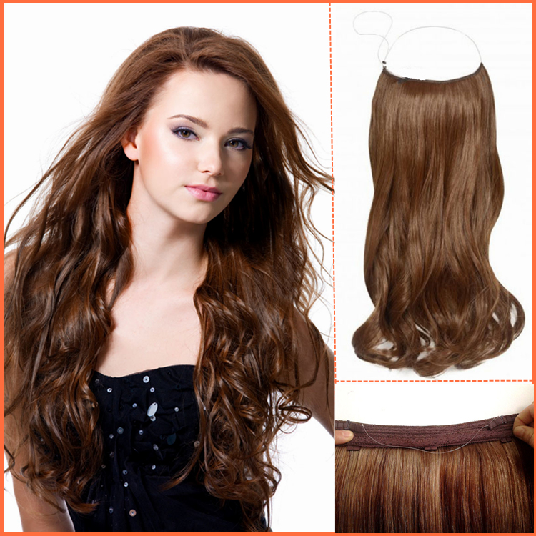 Hair factory customized wholesale high quality 100% remy human hair halo hair extensions