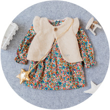 C22835B Wholesale 2016 Fashion Baby Girl Knitted Dress Little Coats Clothes