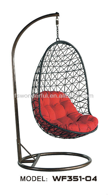 WF351-04 outdoor black rattan/wicker swing hanging chair in patio furniture