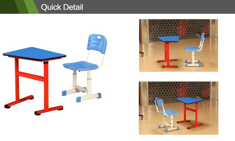 2017 adjustable student desk and chair college classroom furniture cheap study table CT-339