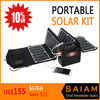Mini solar power camping generator set with foldable solar panel