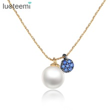 LUOTEEMI Bijoux Femme Choker <strong>Necklace</strong> Gold Color Link Chain Simulated Pearl Jewelry Pendant <strong>Necklaces</strong> For Women
