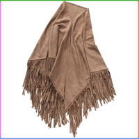 Khaki Plain Long Fringe Triangle Suede Stole Shawls Scarf for Women
