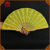 2016 Bright Yellow Peacock Sequins Plastic Folding Hand fans for dance GYS904-4