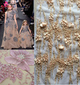 Gold 3D Flowers beaded sequins nice lace fabric wedding 2017 new For wedding dress stage/ evening dress lace fabric Dubai