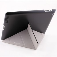 Polished black leather stand case for ipad protective case