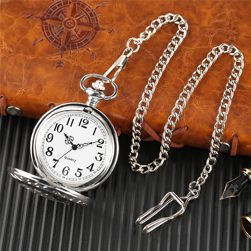 Glossy Steel Pocket Watch Black Epoxy Cover Silver Train on Railway Carving Pendant Chain Special Birthday Gifts Clock for Boys  (10)