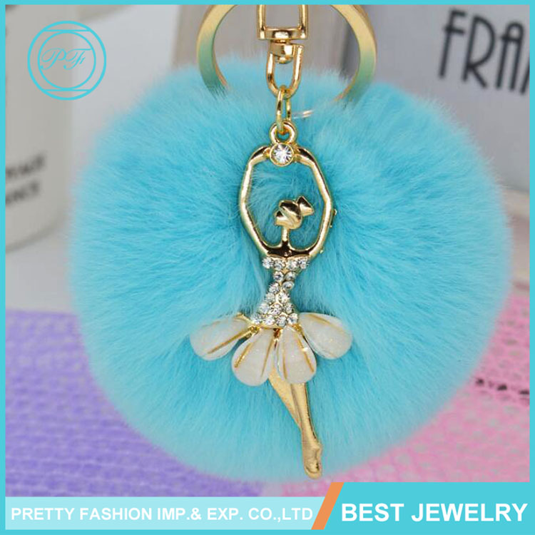 Popular Ballet Girl For Handbag Key Ring Car Key Colorful Angel Fur Ball Keychain