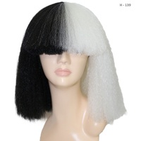 2017 New Medium length Straight Black and blonde Large page style Thick blunt bob Split color SIA wig