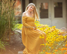 Pregnant Women Maternity Dress For Photo Shoot Women Pregnancy Clothing Long Maxi Mustard Ling Sleeve Gown Dress