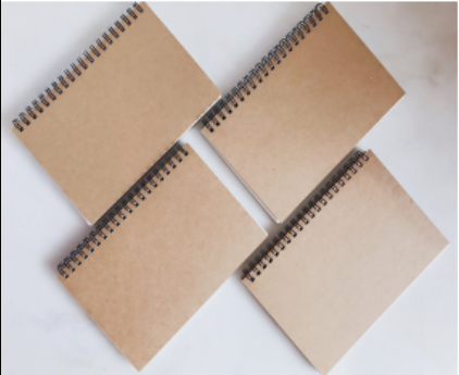 Wholesale Custom Print Brown Kraft Paper Sketch Book Sprial Notebook Notepad Exercise Book