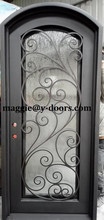 Eyebrow arch wrought iron single door steel entry door front main door design