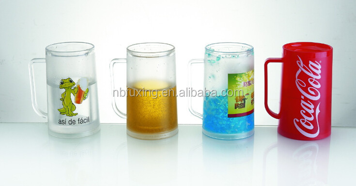 14oz Plastic Double Wall Freezer Ice Mugs With Pure Water