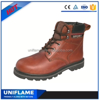 Red crazy horse leather s1p design high ankle safety boots