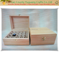 2016 china factory FSC Christmas gift crafts wooden Essential oil 25 bottle storage box in packaging boxes for sale