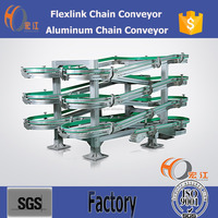 Flexlink aluminium spiral conveyors system, small radius chain conveyor system