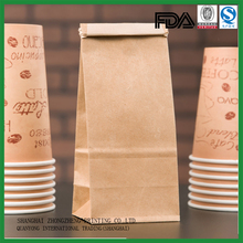 reusable custom printing cheap brown kraft paper coffee bag with tin tie
