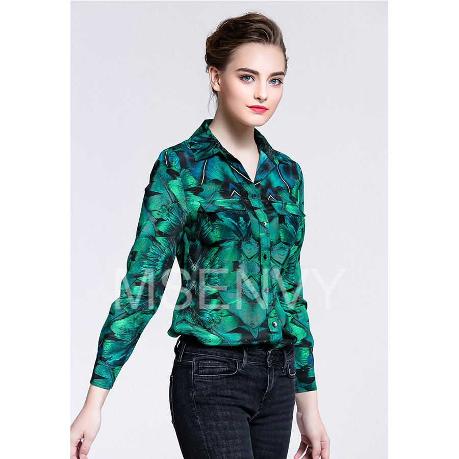 Women printed Silk crepe de chine shirt