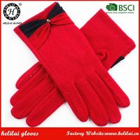 Wholesale Valentine Gifts Winter Cheap Girls Red Thick Wool Gloves