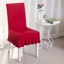 Square back ruffled Spandex Slipcovers half Skirt Chair seat Covers