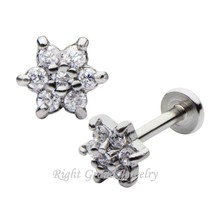 Prong Set Stainless Steel Internal Thread Lip Ring Flower Labret Studs Piercing Jewelry