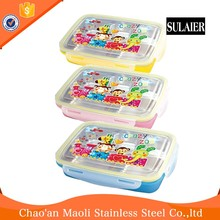 Full Factory Transparent Plastic Kids Double Deck Layer Lunch Box