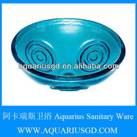 Ocean Blue 19mm Thickness Art Colored Bathroom Sink Glass