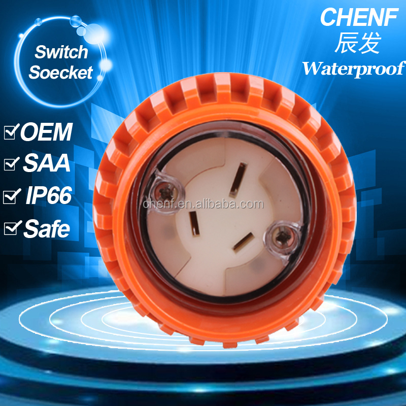 CF56CSC315 industrial power socket 3 flat pin 15A Single Phase Australian IP66 extension socket