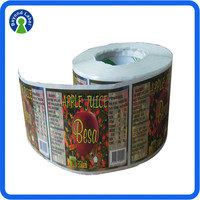 Private Design Soft Drink Bottle Label, Fruit Juice Label,Customized Plastic Water Bottle Label