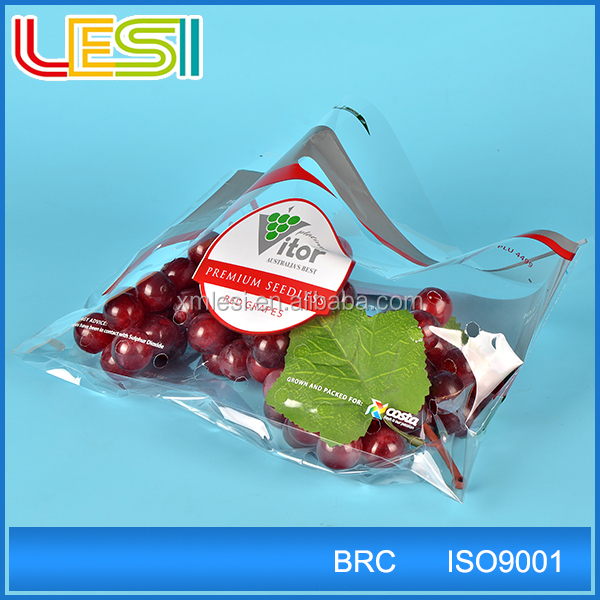 special Custom design Plastic Punch Hole Bags for grape cherry Fruits