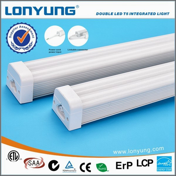 UL DLC frosted / clear diffuser led t5 integrated light t5 fluorescent tube light fittings
