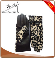 leopard printing pattern fashion ladys leather gloves sexy dress