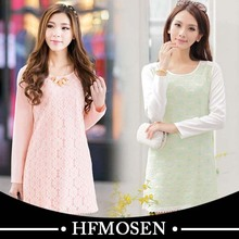 N1178 Spring New Fashion Sweet Lace Chiffon Women Dress