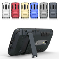 For Moto G3 Hybrid Armor Iron Man Style Dual Layer Rugged Kickstand Case