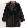 black short pile soft plush fur jacket coat girls 2015