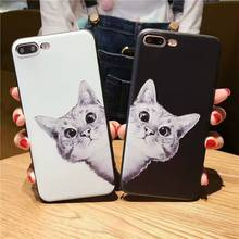 New Carton Cat Slicone TPU Back Cover Phone Case For Iphone 7 7Plus Case
