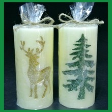 Fancy big yellow etched led christmas candle custom battery operated pillar candles for home decor