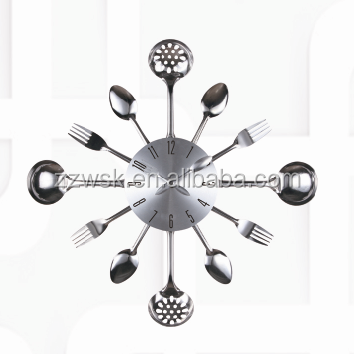 metal material knife and fork wall clock