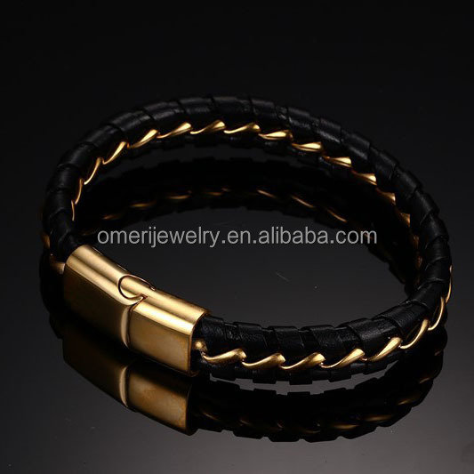 Wholesale Fashion Jewelry gold leather mens bracelets stainless steel