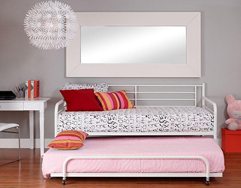 Metal Day Bed / Guest Bed Frame With Under-Bed Trundle