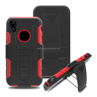 Shock Proof Heavy Duty Armour Stand Cover Hard Holster Kickstand Combo Armor Box Case with Belt Clip for Apple iPhone X
