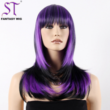 Guangzhou Wig Suppliers 20 Inch Purple Mix Color Long Straight Synthetic Hair Cosplay Wigs For Women