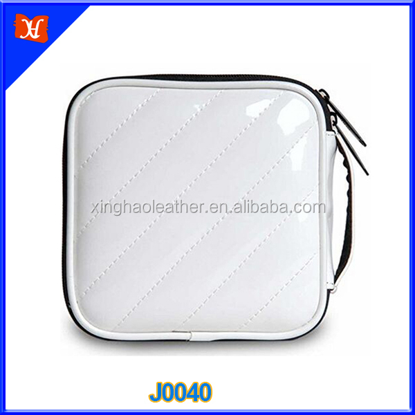 Single white color PU leather DVD case credit card holder