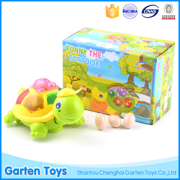 Battery operated educational cute cartoon plastic musical turtle light toy