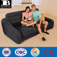 heavy-duty flocked PVC inflatable pull-out sofa folding inflatable 2-person sofa bed inflatable air sofa with pull out queen bed