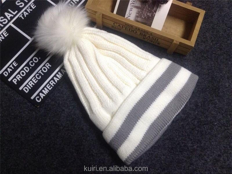 Brand design 2016 Newly Design Women Winter Warm Crochet Knitted Hat Striped Cap Beanie with Faux Fur Ball