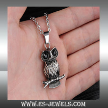 316L Stainless Steel Fashion Jewelry Black Etched Engraved Owl with Pendant Necklaces