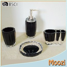 4PCS Bathroom Set,clear black Resin Bathroom Accessories Sets for Hotel